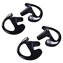 HDE Two Way Radio Ear Mold Replacement Earpiece Insert for Acoustic Coil Tube Earbud (2 Pair, 1- Medium, 1- Large) (Black)