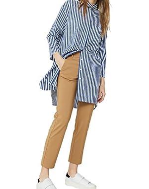 Mango Women's Straight-Cut Crop Trousers