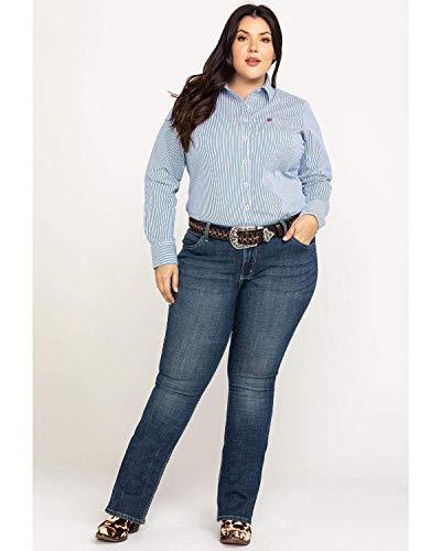 Wrangler Women's Plus Size Western Mid Rise Boot Cut Jean, -dark blue, 20WX32