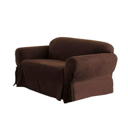 Micro Suede Solid CHOCOLATE BROWN Loveseat Slipcover - 1 Piece Couch Cover