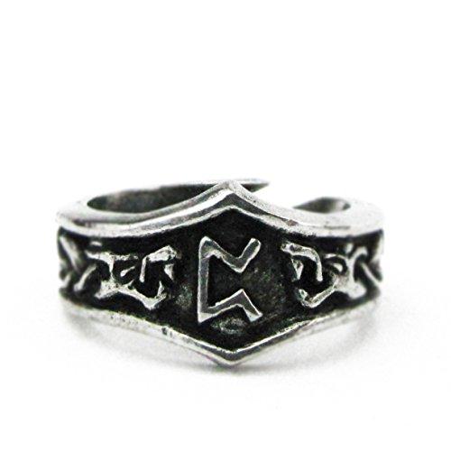 Asgard - Unisex Viking Pewter Adjustable Runic Ring (P - Peorth)