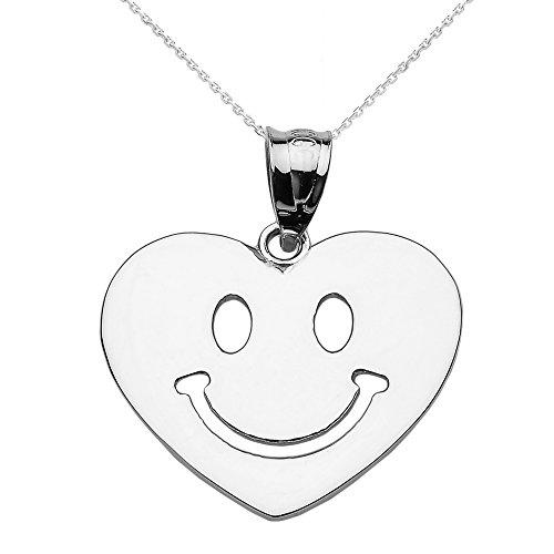 Collier Femme Pendentif 14 Ct Or Blanc Heureux Smiley Visage Cœur (Livré avec une 45cm Chaîne)