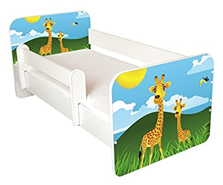 BestByMax TODDLER BED WITH FREE MATTRESS-Giraffe