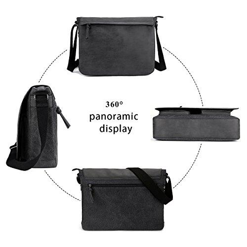 "Mens Laptop Messenger Bags 15.6"" Water Resistant Shoulder Bag Tocode PU Leather Canvas Satchel Crossbody Bags Brifecase Office Bag Large Computer Bag for Work College School Travel, Black by Tocode (Image #7)"