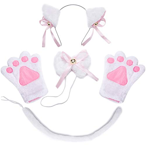 Costume Cat Cosplay Set - 4Pcs Kitten Tail Ears Collar Paws Gloves Lolita Gothic Set (White) -