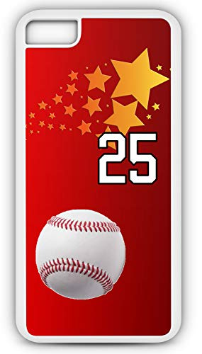 iPhone 7 Case Baseball Ground Rule Double Customizable by TYD Designs in White Rubber with Team Number 25 (Babe Baseball Rules Ruth)