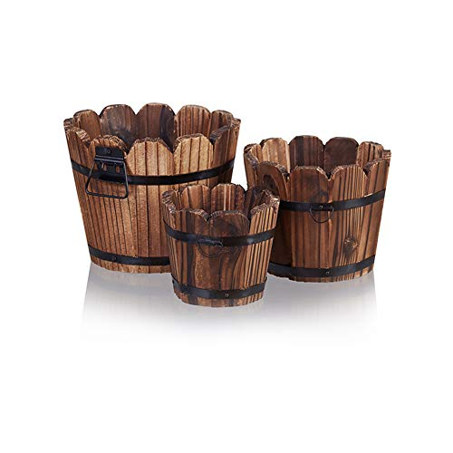 Wooden Bucket Barrel Planters, Rustic Patio Planters Flower Pots for Plants Garden Outdoor Indoor Décor, Set of 3