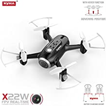 Syma X22W RC Drone FPV Quad Copter with HD Camera Nano WiFi Pocket Drone for Beginners Headless Mode 4 Channel Altitude Hold Real Time Transmission Drone for Outdoor Indoor