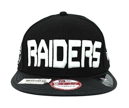 (New Era NFL 9fifty Black White Adjustable Strapback Hat (Oakland Raiders))