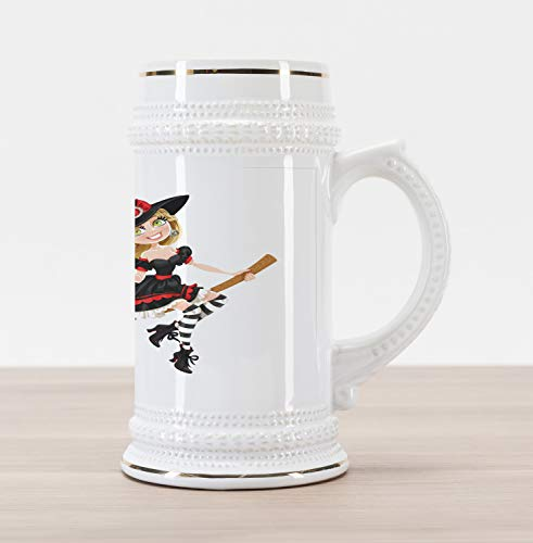 (Lunarable Witch Beer Stein Mug, Young Witch on a Broomstick Flying with Candies in Her Pumpkin Halloween Costume, Traditional Style Decorative Printed Ceramic Large Beer Mug Stein,)