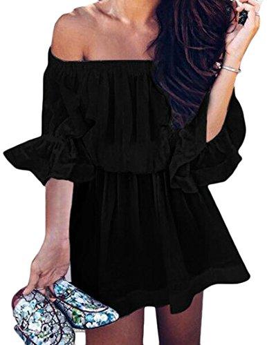 Cromoncent D'été Pour Femmes Volants Élégant De L'épaule Ruché Couleur Pure Mini-robe Noire