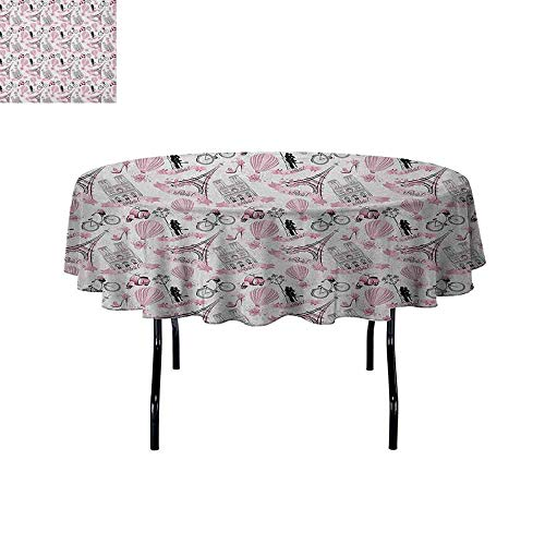 DouglasHill Eiffel Washable Tablecloth Love in The City Paris French Bridal Composition Romantic Travel Pink Blossoms Dinner Picnic Home Decor D70 Inch Rose Black White