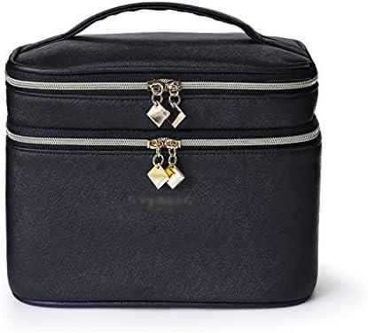 化粧品収納ボックス 化粧品収納袋を備えた大容量の家庭用ポータブルダブル防水スキンケア製品ポータブル収納ボックス黒と白のベージュ GHMOZ (Color : Black)