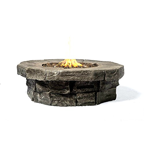 Century Modern Outdoor Fire pit Stone Look Fire Pit For Outdoor Home Garden Backyard Fireplace - Round By (Gray Finish) - Marbella Round Table