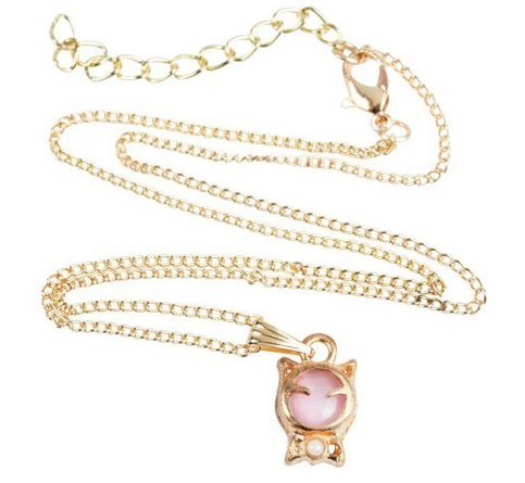 High Quality Cute Golden Necklace Including Kitten Shaped Pendant With Pink Cat Eye Stone And Golden Coloured Chain By VAGA© 661799000239