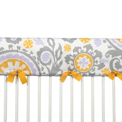 Sweet Potato Fiona Convertible Crib Rail Protector Long Suzani, Purple/White/Yellow