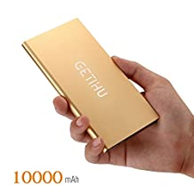 GETIHU Portable Power Bank Real 10000mAh Thin External Battery Charger, Ultra Slim Thin Design Powerbank with 2 USB Ports for iPhone 7 6s 6 Plus iPad Mobile Phone (Gold)