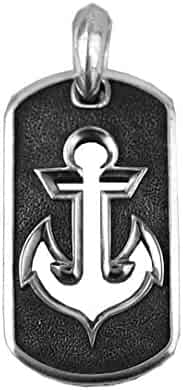 DAVID YURMAN STERLING SILVER LARGE 35 mm ANCHOR DOG TAG ENHANCER 33T NEW BOX