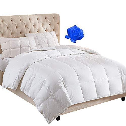 100% Cotton Down Comforter with Corner Tabs White Goose Duck Down and Feather Filling Hypoallergenic.Lightweight and Medium Warmth All Season Duvet Insert or Stand-Alone Comforter Queen/Full
