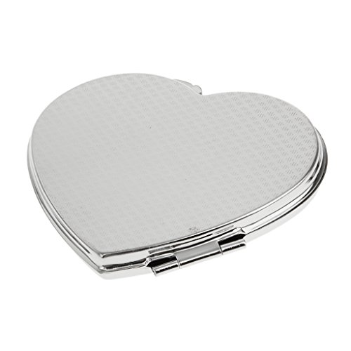 - Generic Portable Outdoor Office Cosmetic Makeup Metal Mirror Compact Pocket Handbag Purse Heart Shape Mirror Silver