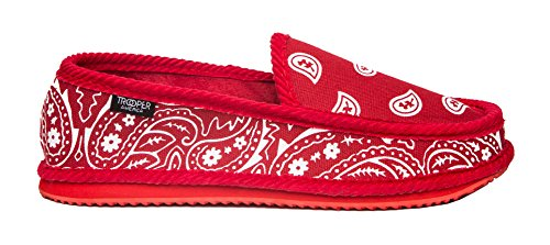 Troooper Amerika Ks-002 Bandana Paisley Slip-on Huis Schoen Slippers Rood / Wit