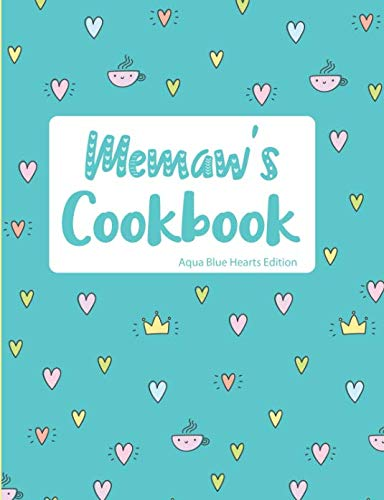 Memaw's Cookbook Aqua Blue Hearts Edition by Pickled Pepper Press