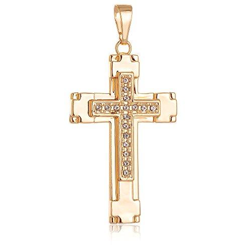 loyoe jewelry 18K Gold Filled Jesus Christ Cross Crucifix Pendant for Men Women (Cross with czs) - Gold Filled Crucifix Pendant