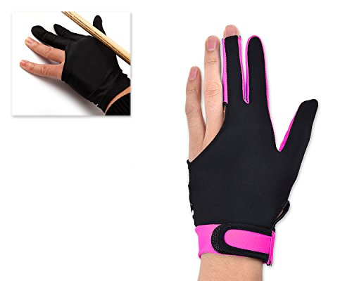 Ace Select Billiard Pool Cue Glove 1 Piece, 3 Fingers Elastic Lycra Stretchable Snooker Glove - Pink -