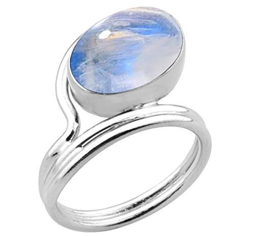 Oval Genuine Moonstone Ring - 925 Silver Plated 5.50ctw,Genuine Rainbow Moonstone 10x14mm Oval Handmade Fashion Ring (Size-7)