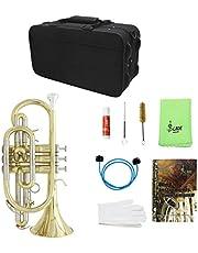 Shiwaki Instrumento Musical De Trompeta De Trompeta De Latón Dorado Con Funda De Tela Guantes Cepillos