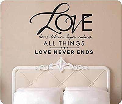 """28"""" Love Bears Believes Hopes Endures All Things Love Never Ends 1 Corinthians 13:7 Wedding Gift Anniversary Christian Scripture Bible Religious Wall Decal Sticker Art Mural Home Décor Quote"""