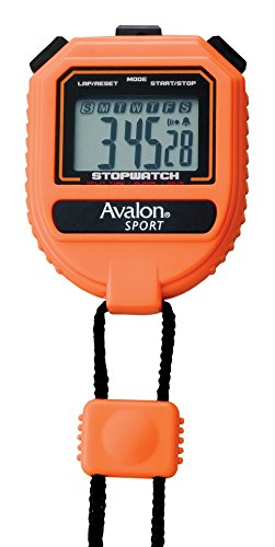 Avalon Sport Stopwatch Extra Large Display Buttons Handheld Split Time Chronograph in 1/100 Second Perfect for Coaches, Runners, Athletes Orange