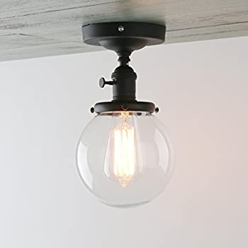 Amazon permo vintage industrial mini 59 round clear glass permo vintage industrial mini 59 round clear glass globe semi flush mount ceiling light fixture aloadofball Gallery