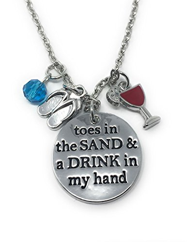Silver-Tone 'Toes In The Sand And A Drink In My Hand' Engraved Pendant Necklace 2.2cm Diameter With 18 Inch Chain Holiday Trip Sun
