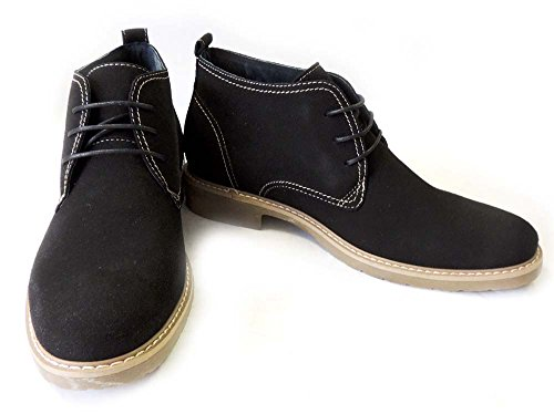 NEW MENS ANKLE BOOTS FAUX SUEDE LEATHER LINED CHUKKA LACE UP SHOES M51001S / BLACK hhAU0BaH