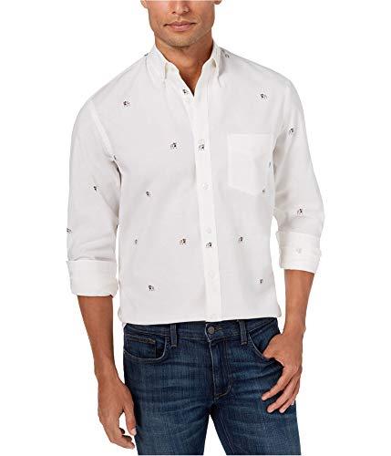 Club Room Mens Bull Dog Oxford Button Down Shirt Whites from Club Room