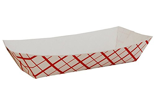 Red Check Hot Dog Tray Party Catering Disposable Trays (50) Made in (Hot Dog Tray)