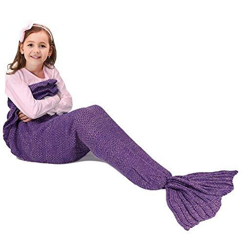 Fu Store Mermaid Tail Blanket Crochet Mermaid Blanket for Kids, Super Soft All Seasons Sofa Sleeping Blanket, Cool Birthday Wedding Christmas -