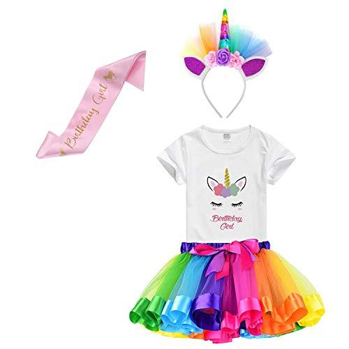 (Girls Rainbow Tutu Skirt with Birthday Unicorn Tshirt & Unicorn Headband (Rainbow Birthday Girl, 3-4 Y))