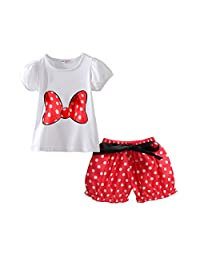 Toddler Girl's Polka Dot Summer 2pc Outfits