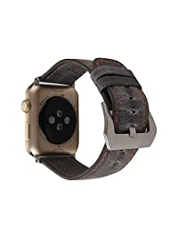 MeShow TCSHOW 40mm 38mm Handmade Vintage Calf Genuine Leather Strap Wrist Band with Secure Metal Clasp Buckle Compatible for Apple Watch Series 4(40mm)/Series 3/2/1(38mm)