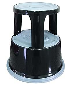 Q-Connect - Banqueta con escalera (metal), color negro