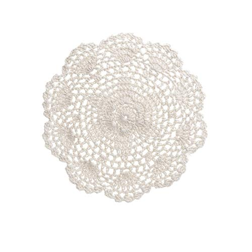(Saideke Home Package of 6 Hand Crocheted 8 inch Round White Doilies - 100% Cotton)
