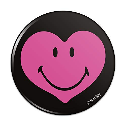 Love Pinback Button (Smiley Smile Happy Pink Heart Love Romantic Face Pinback Button Pin Badge - 2.25