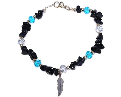 Mia Jewel Shop Feather Colored Charm Crystal Bead Chip Stone Anklet ()