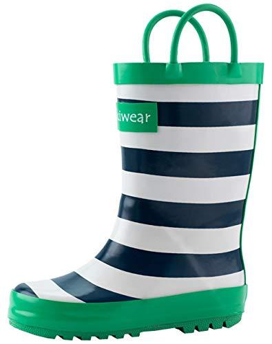 OAKI Kids Rain Boots with Handles, Blue, White & Green Stripes, 11T -