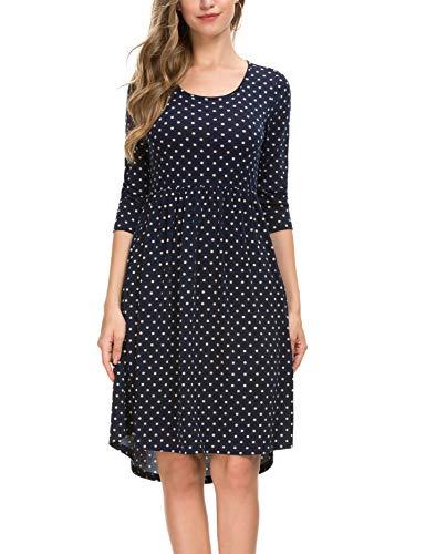Women's 3/4 Sleeve Dot Vintage Pleated A Line Casual Dress 801 (M, Black)