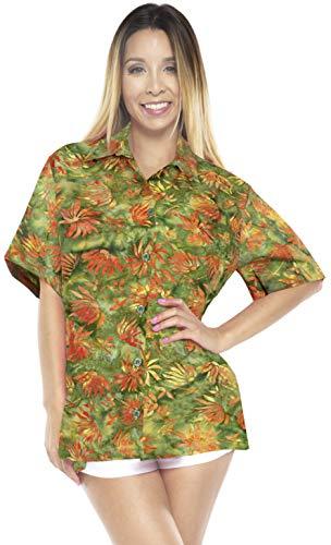 LA LEELA Women's Hawaiian Shirt Short Sleeve Button Down Shirt L Green_AA144