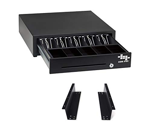 EOM-POS Cash Register Money Drawer + Mounting Brackets for Under Counter Installation. Compatible with Square Stand [Receipt Printer Required] Built in Wire to Connect Receipt Printer. Printer Driven