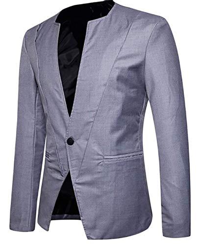 Manches Vestes Hommes Costumes Col Longues Moderne Fit 1 Casua Casual Slim Mandarin Dunkelgrau Blazer Bouton q8APw8